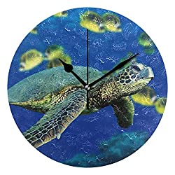 HangWang Wall Clock Sea Turtle Coloring Silent Non Ticking Decorative Round Digital Clocks for Home/Office/School Clock