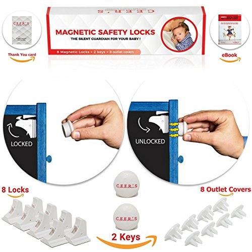 Magnetic Cabinet Locks Child Safety | 8 Baby Proof Locks and 2 Keys for all Cabinets and Drawers + 8 Outlet covers| Easy Magnet Proofing - No Drilling Required | BONUS 3M Adhesive Childproof Stickers