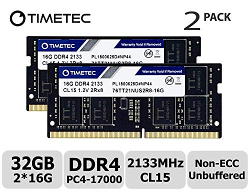 Timetec Hynix IC 32GB Kit (2x16GB) DDR4 2133MHz PC4-17000 Unbuffered Non-ECC 1.2V CL15 2Rx8 Dual Rank 204 Pin SODIMM Laptop Notebook Computer Memory RAM Module Upgrade (32GB Kit (2x16GB)) ()