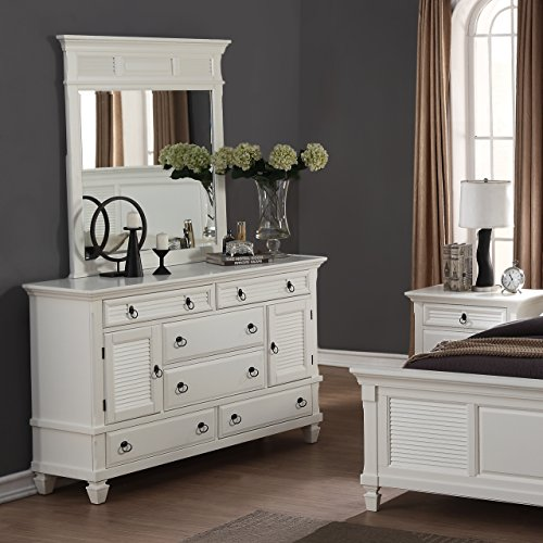 Roundhill Furniture Regitina 016 Bedroom Dresser with Mirror, Queen/King, White by Roundhill Furniture