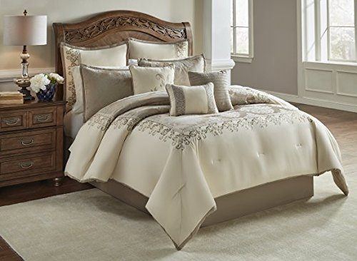 Riverbrook Home Hillcrest Comforter Set, Queen, Ivory/Gold, 9 Piece