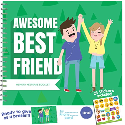 Best Friend Gifts - Unique booklet with Friendship Quotes, Stickers and Frames to add your Pictures - Recognition Award for being an Awesome BFF - Pages of 8x5 Size and Includes a Matching Card