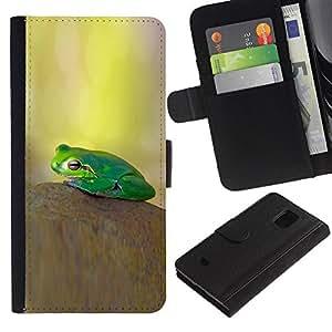 Planetar® Modelo colorido cuero carpeta tirón caso cubierta piel Holster Funda protección Para Samsung Galaxy S5 Mini / SM-G800 (Not For S5!!!) ( Pastel Yellow Green Nature )