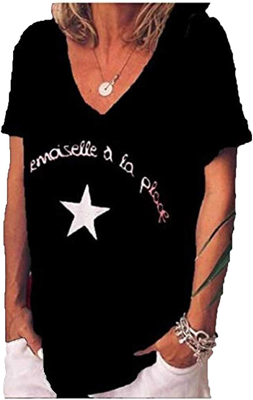 cxzas852 Camiseta con Cuello En V Top Estampado Suelto Extragrande para Mujer: Amazon.es: Ropa y accesorios