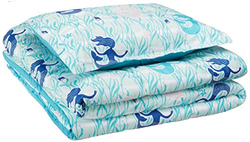 AmazonBasics Kid's Comforter Set - Soft, Easy-Wash Microfiber - Twin, Blue Mermaids ()