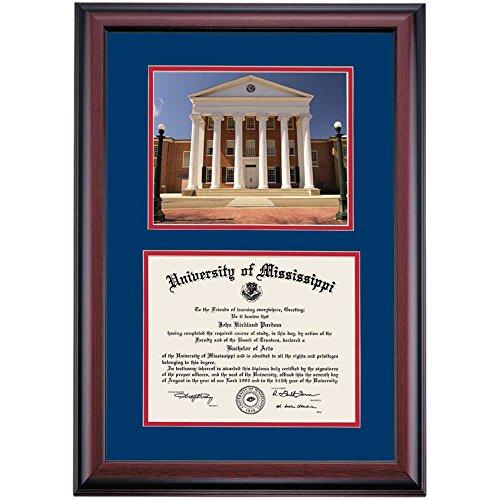 (Campus Linens Mississippi Ole Miss Rebels Diploma Frame Blue Red Matting)