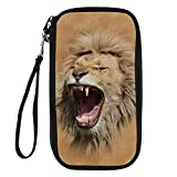Bigcardesigns Passport Holder Travel Wallet Wrist Strap Roaring Lion Print