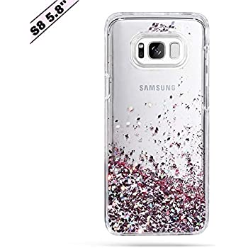 pretty nice 91f32 4f9f2 Galaxy S8 Case, Caka Galaxy S8 Glitter Case Luxury Fashion Bling Flowing  Liquid Floating Sparkle Glitter Soft TPU Case for Samsung Galaxy S8 - (Rose  ...
