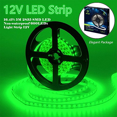 Led Strip Lights, IEKOV 2835 SMD 600LEDs Non-Waterproof Flexible Xmas Decorative Lighting Strips, LED Tape, 5M 16.4Ft DC12V, 3 times brightness than SMD 3528 LED Light Strip (Green) ()