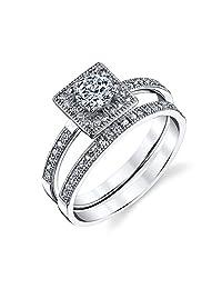 925 Sterling Silver Baguette Bridal CZ Engagement Wedding Ring Set