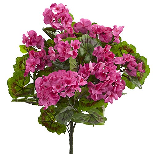 Nearly Natural Geranium Artificial Bush, UV Resistant, Set of 3 (Indoor/Outdoor) by Nearly Natural