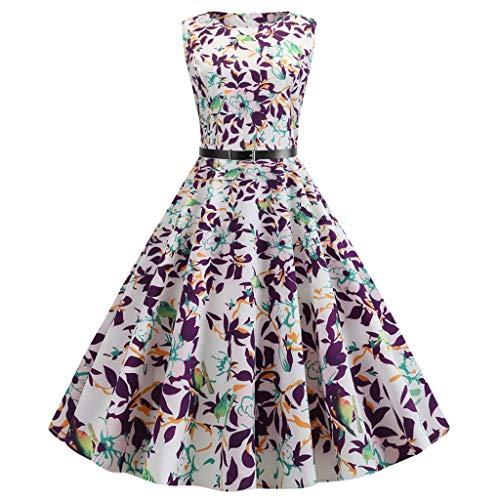 Garden Sleeveless - Womens Vintage 1950's Sleeveless Floral Rockabilly Garden Party Dress, Summer Swing a-Line Pleated Dress Tea Dress(White, XL)