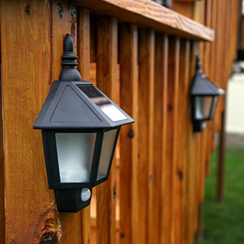 2 Solar Security Wall Sconce Lights With High Tech Motion