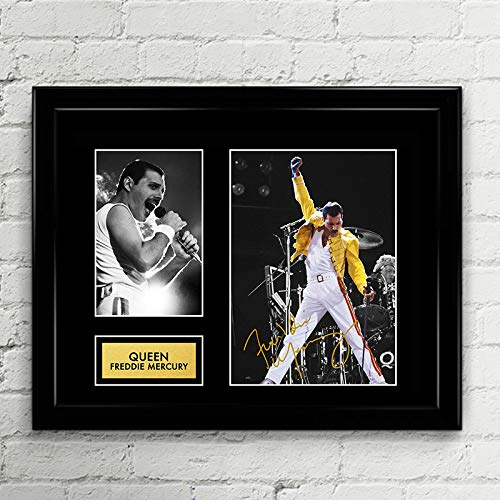 (Freddie Mercury Queen Bohemian Rhapsody Signed Autographed Photo Printed Framed Mat Custom Framed 11 x 14 Reprint Rp)