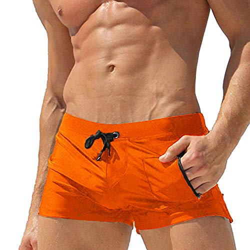 COOFANDY Men's Swimming Trunks Quick Dry Beach Boxer Briefs Board Swimsuit Shorts with Zipper Pocket ()