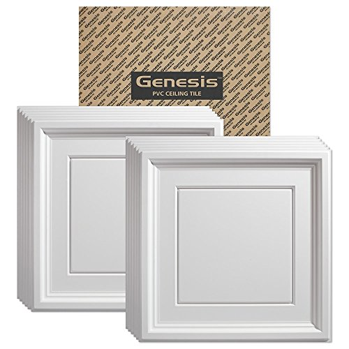 Genesis - Icon Coffer White 2x2 Ceiling Tiles 3 mm Thick (Carton of 12) – These 2'x2' Drop Ceiling Tiles are Water Proof and Won't Break - Fast and Easy Installation (2' x 2' Tile)