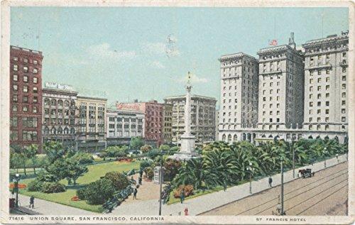 Historic Pictoric Postcard Print | Union Square, San Francisco, Calif, 1913-1918, re- issued through 1930 | Vintage Fine Art