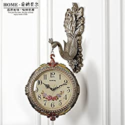 Y-Hui Peacock Mute Double-Sided Wall Clock Living Room Large Diamond Watch Quartz Clock, 20 Inch, The New Silver 8820