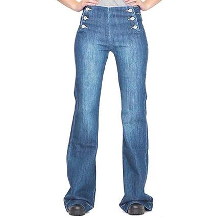 Moda Mujer Color sólido Acampanado Denim Jeans Estilo años ...