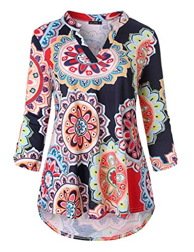 - Acloth Women Floral Print Tunic Top Pleated 3/4 Sleeve V-Neck Flared Blouse (3/4 Sleeve Flower Navy Blue, Medium)