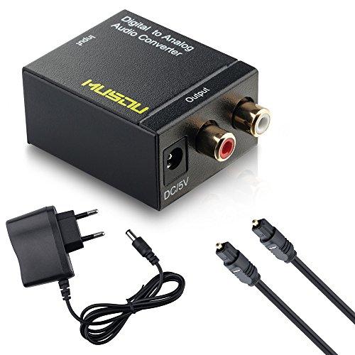 Musou Audio Konverter Wandler Digital (Toslink und Koaxial) zu Analog (Cinch) - Digital zu Analog Audiowandler mit Netzteil und Toslinkkabel, schwarz