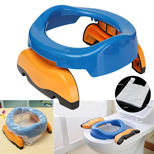 [Free Shipping] Baby Kids Foldable Portable Travel Blue Potty Chair Toilet Training Seat With 10 bags // Niños bebé plegable portátil asiento azul esfínteres bacinica de viaje con 10 bolsas