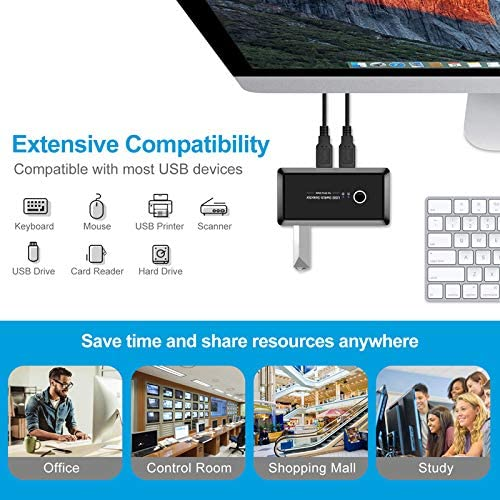 Xqjtech USB2.0 2 in 4 Out USB 2.0 Sharing Switch Box KVM Switch Box Switcher 2 Port PCs Sharing 4 Devices for Keyboard Mouse Printer Monitor with 2 USB 2.0 Cable