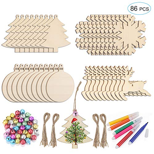 Unfinished Christmas Wooden Ornaments 86Pcs Set, HOMOR 40Pcs Paintable Blank Natural Wood Slices with 32ft Jute Twine 40Pcs Scrub Bells 6Pcs Color Pens DIY Crafts Christmas Ornaments Decorations Gift -