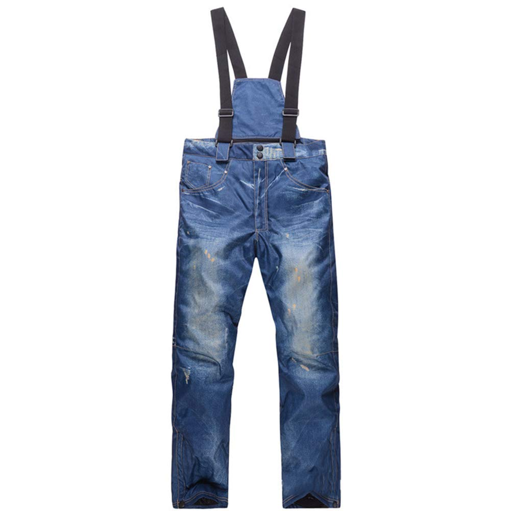 LYJNBB Herren-Denim-Skipant, Unique Casual Suspenders Denim Waterproof Trousers geeignet für Skiing Snowboarden Pants Mountain Camping Cycling
