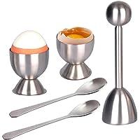 KOBWA - Juego de Cortador de Huevos para Huevos y Huevos Duros para Huevos Suaves Incluye 2 hueveras, 2 cucharas y 1 Cortador de Huevos de Acero Inoxidable