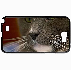 Personalized Protective Hardshell Back Hardcover For Samsung Note 2, Cat Face Spotted Look Design In Black Case Color