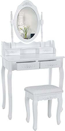 Wefun Coiffeuse En Bois Avec 4 Tiroirs De Rangement Et Miroir Avec Bureau De Maquillage De Tabouret Pour Chambre Ou Dressing Blanc