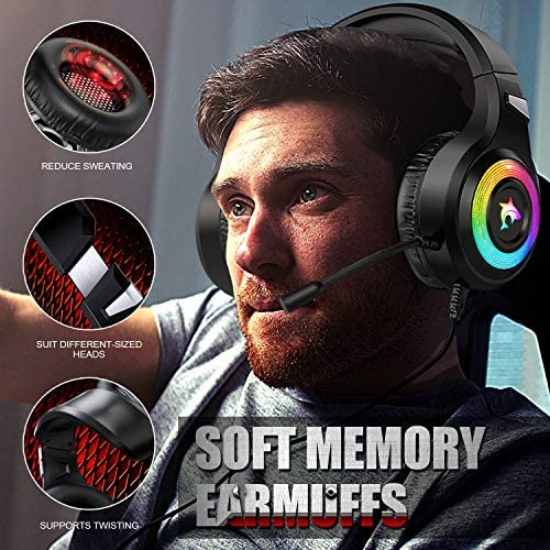 Gaming Headset Xbox One Headset with Stereo Surround Sound,PS4 Gaming Headset with Mic & LED Light Noise Cancelling Over Ear Headphones Compatible with PC, PS4, Xbox One Controller