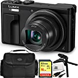 Panasonic Lumix DMC-TZ80 Digital Camera (Black) 16GB Bundle 5PC Accessory Kit Includes SanDisk 16GB Extreme SDHC Memory Card + Pistol Grip/Table Top Tripod + Micro HDMI Cable + MORE