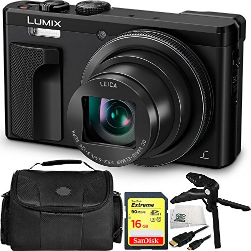 Panasonic Lumix DMC-TZ80 Digital Camera (Black) 16GB Bundle 5PC Accessory Kit Includes SanDisk 16GB Extreme SDHC Memory Card + Pistol Grip/Table Top Tripod + Micro HDMI Cable + MORE by SSE