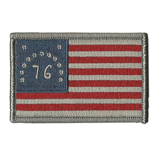 "Bennington 1776 Tactical Flag Patch - 2"" x 3"" - Subdued Silv"