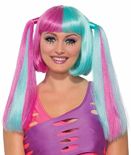 Costume Cotton Clown Candy (Cotton Candy Pigtails Wig Anime Cosplay Fashion Adult Women's Costume)