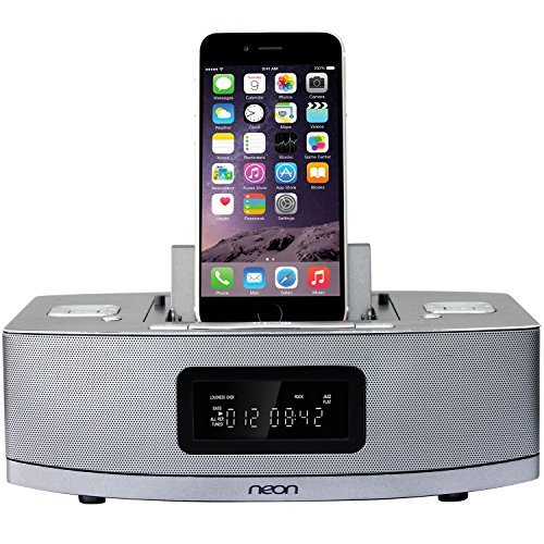 Neon electronic BTD622-37 Apple Certified Dual-Docking Lightning iPod/ iPhone /iPad with Bluetooth, MP3 Link,FM Radio and 2 Alarm Clock Functions.