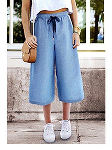 OCHENTA Mujeres Cintura Elástica Mezclilla Siete Puntos Pantalones Culottes Con Cordón (siete puntos)Azul claro