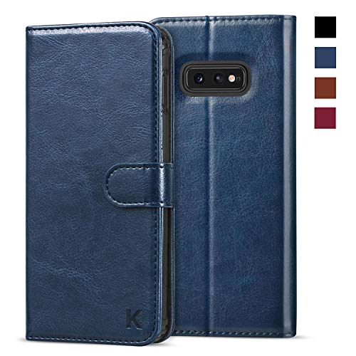 KILINO Galaxy S10e Wallet Case [Shock-Absorbent Bumper][Card Slots][Kickstand][RFID Blocking] Leather Flip Case Compatible with Samsung Galaxy S10e - Blue