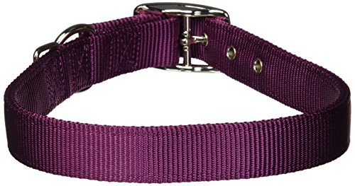 Hamilton Thick Nylon Deluxe Dog Collar, 1-Inch by 24-Inch Double, Wine