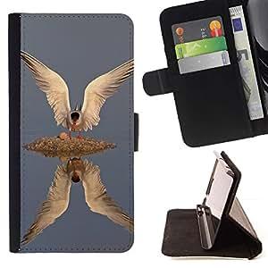 Momo Phone Case / Flip Funda de Cuero Case Cover - Gull Ailes de réflexion Plumes - Apple Iphone 5 / 5S