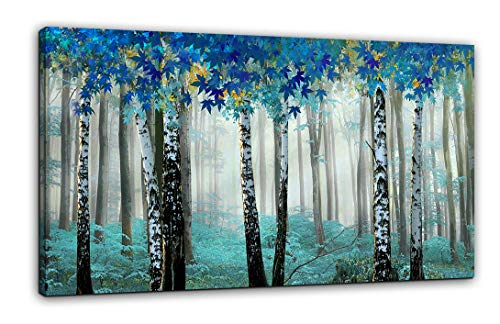 Living Room Decoration Forest Canvas Wall Art Decor Blue Teal White Birch Trees Picture Modern Print Artwork Ready to Hang on Home Bedroom Living Room 24x48 one Piece Wood Framed