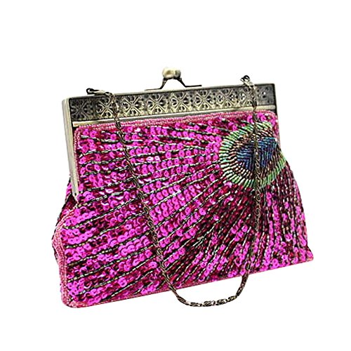 Evening Sequin Purse Party Flada Peacock Red Purple Bags Clutch Women's Chain Beaded Wedding qEaawIF