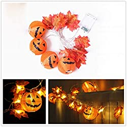 Clearance Sale!UMFun Halloween Maple Leaf Lantern Strings LED Battery Box Light Strings 20 Lights