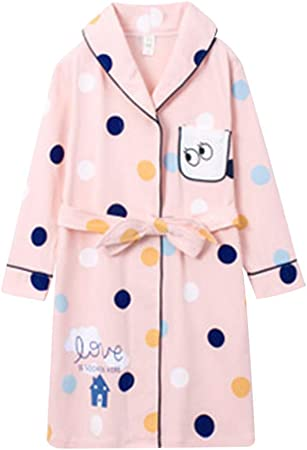 Camisones Bata de Noche Albornoz de niñas otoño Pijama de algodón de niña de Manga Larga y algodón (Color : Pink, Size : 110cm): Amazon.es: Hogar