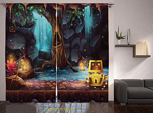 Living Room Bedroom Window Drapes/Rod Pocket Curtain Panel Satin Curtains/2 Curtain Panels/108 x 84 Inch/Fantasy,Cartoon Style Cave Landscape with a Big Tree Treasure Chest Lamps and Waterfall,Multico