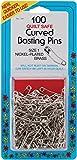 Collins Curved Basting Safety Pins Size 1 100pc CurveBAssortedingSafetyPinsSz1100ct