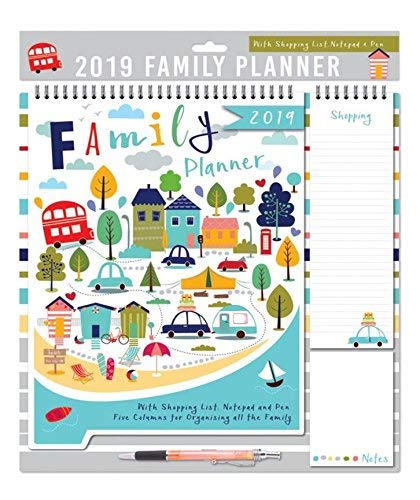 2019 Family Organiser Calendar, Memo Pad, Pen & Shopping List - Scenic Town
