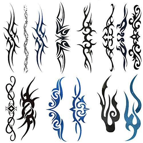 Yesallwas 6 Sheets Mix Tribal fake Tattoos Small Temporary Tattoo Blue Black Tribal Pattern Tattoo Sticker for Men Women 6x10.5cm/2.36x4.13inches (LxW) (Temporary Tattoo Tribal)